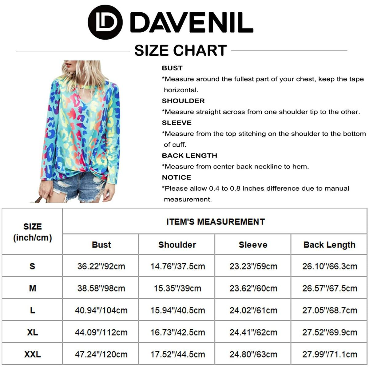 Davenil Women's Long Sleeve Tops V Neck Shirts Twist Knot Cutout Criss Cross Loose Fit Casual Tunic Tops
