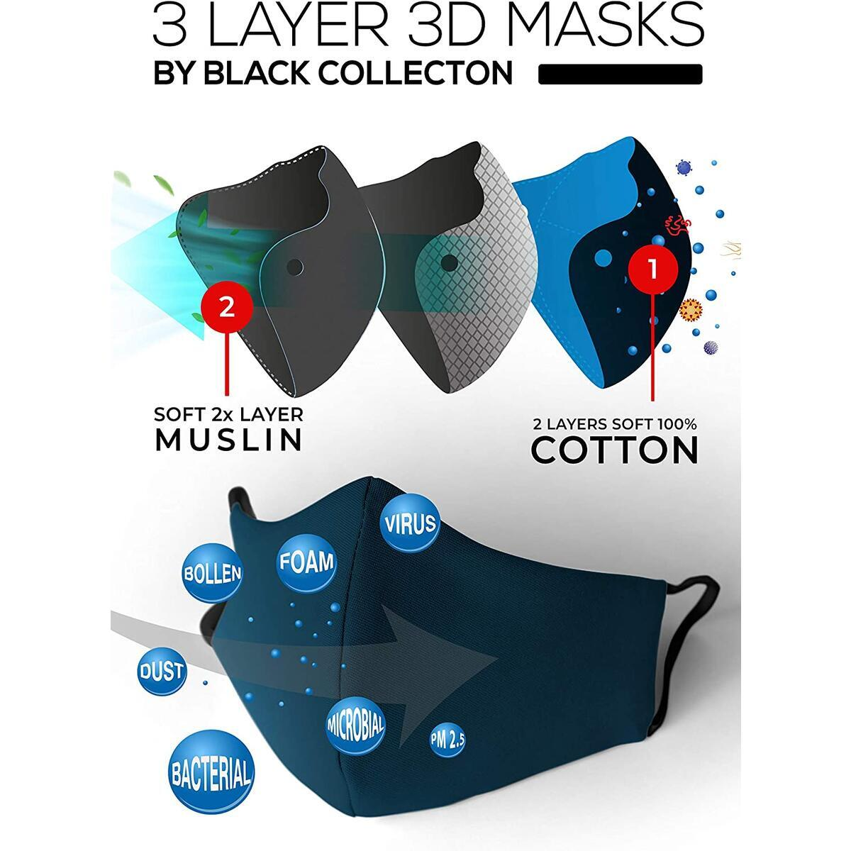 3x Layer Cotton Muslin Navy Blue Face Cover (Pack of 2) Nose & Mouth Covers with Extra Padding Slot, Super Soft Comfortable Wear for Daily Use 1 Size Fit Most Adult Men & Women One Size Fits All (SML)