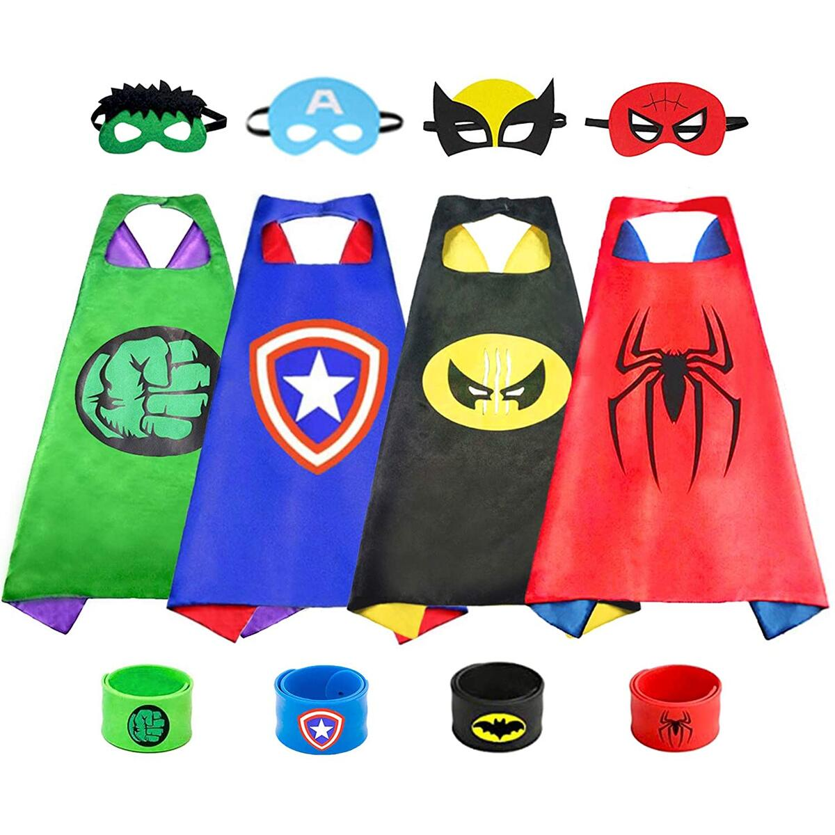 Superhero Capes with Masks for Kids Halloween Cosplay Dress Up Costumes Double Satin Cape Superhero Toys for Boys Gifts