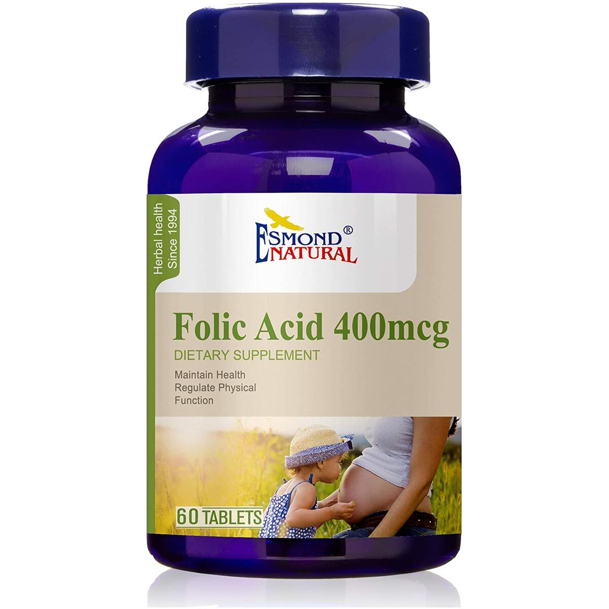 Esmond Natural: Folic Acid 400mcg (Pregnancy Support, Maintain Health Functions), GMP, Natural Product Assn Certified, Made in USA-400mcg, 60 Tablets