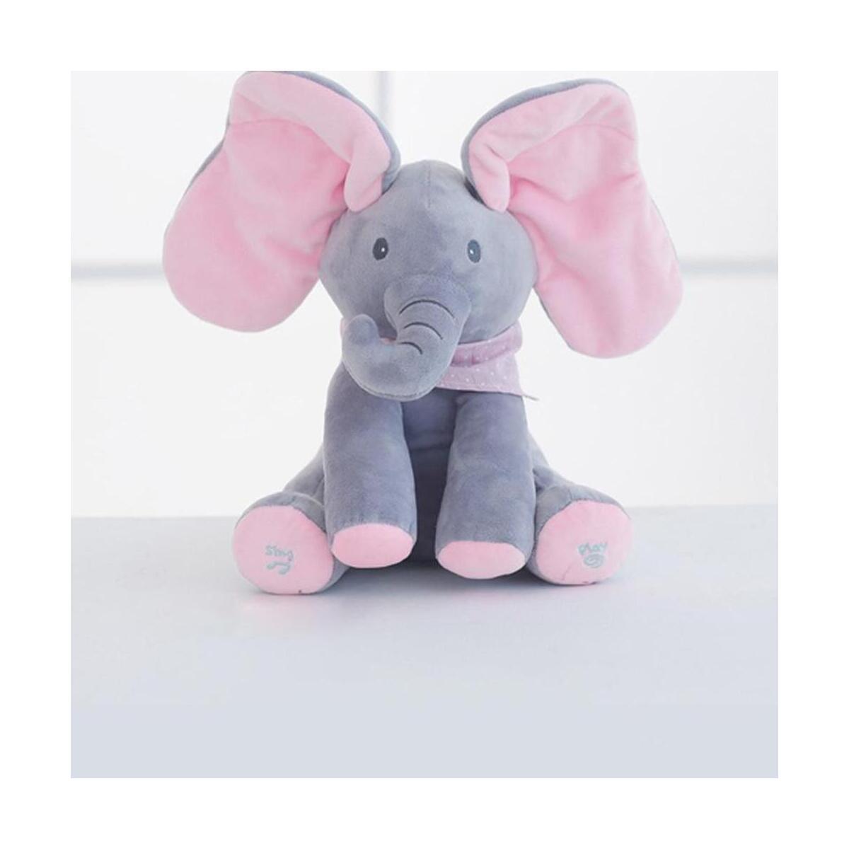 Peek-a-boo Elephant Baby Plush Toy Talking Singing Stuffed Music Cute Doll