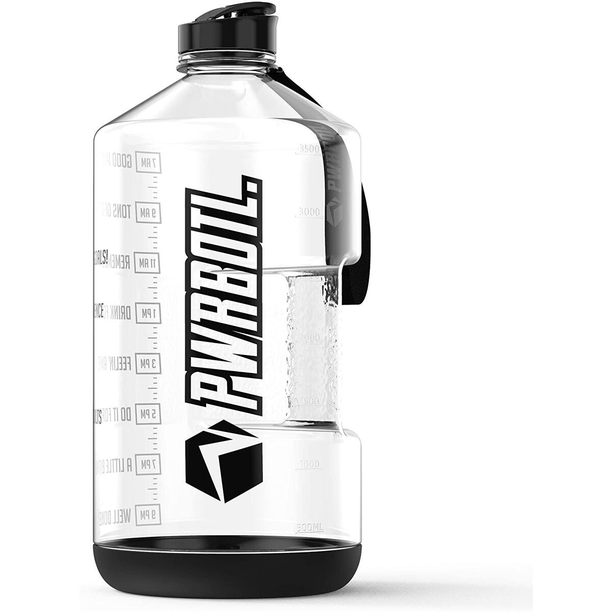 PWRBOTL 1 Gallon Water Bottle with Time Marker - Drop Resistant - Large BPA Free Jug Water Gallon Bottle/Gallon Water Jug Helps You to Drink More Water! 128 oz Leak Proof Motivational Water Bottle