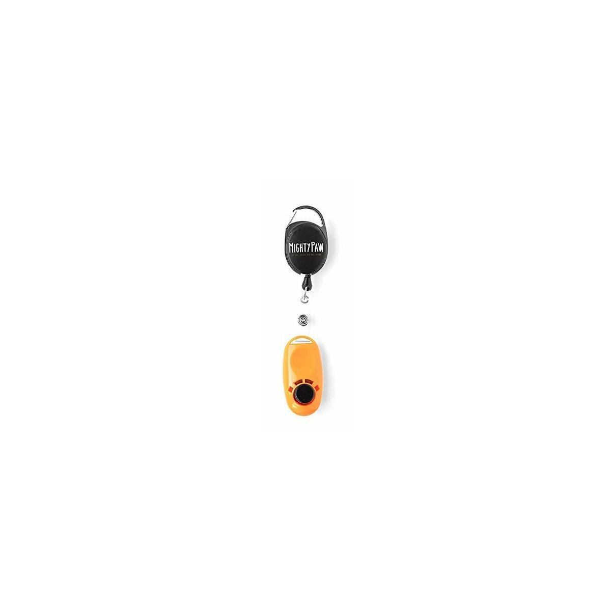 Mighty Paw Dog Training Clicker, 2 Attachment Options, Retractable Belt Clip + Wrist Lanyard (Orange)
