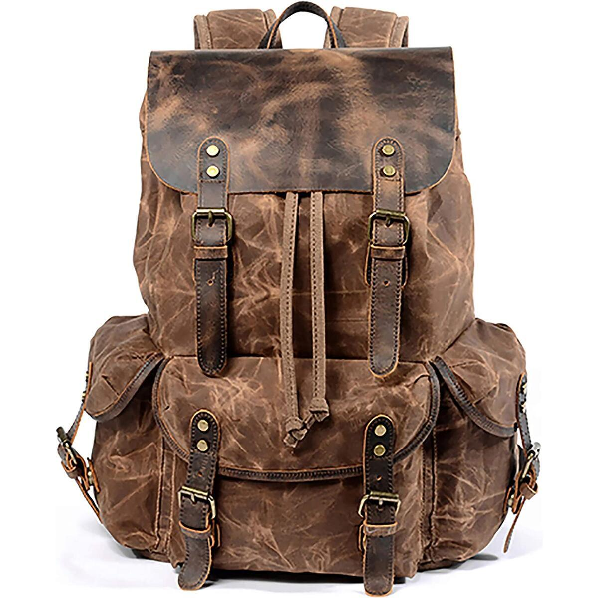 HuaChen Leather Backpack for Men,Waxed Canvas Shoulder Rucksack for Travel Laptop School (M80_Brown)