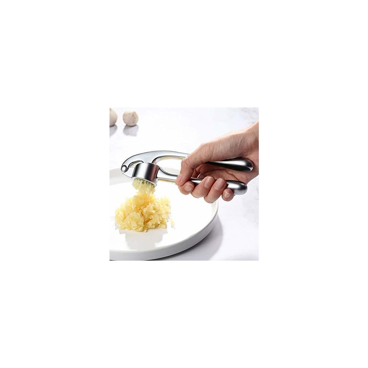 Garlic Press, Ruler Garlic Crusher and Slicer - Food Safe, Zinc Alloy Made, Durable and Professional,Easy to Clean, Rust Proof