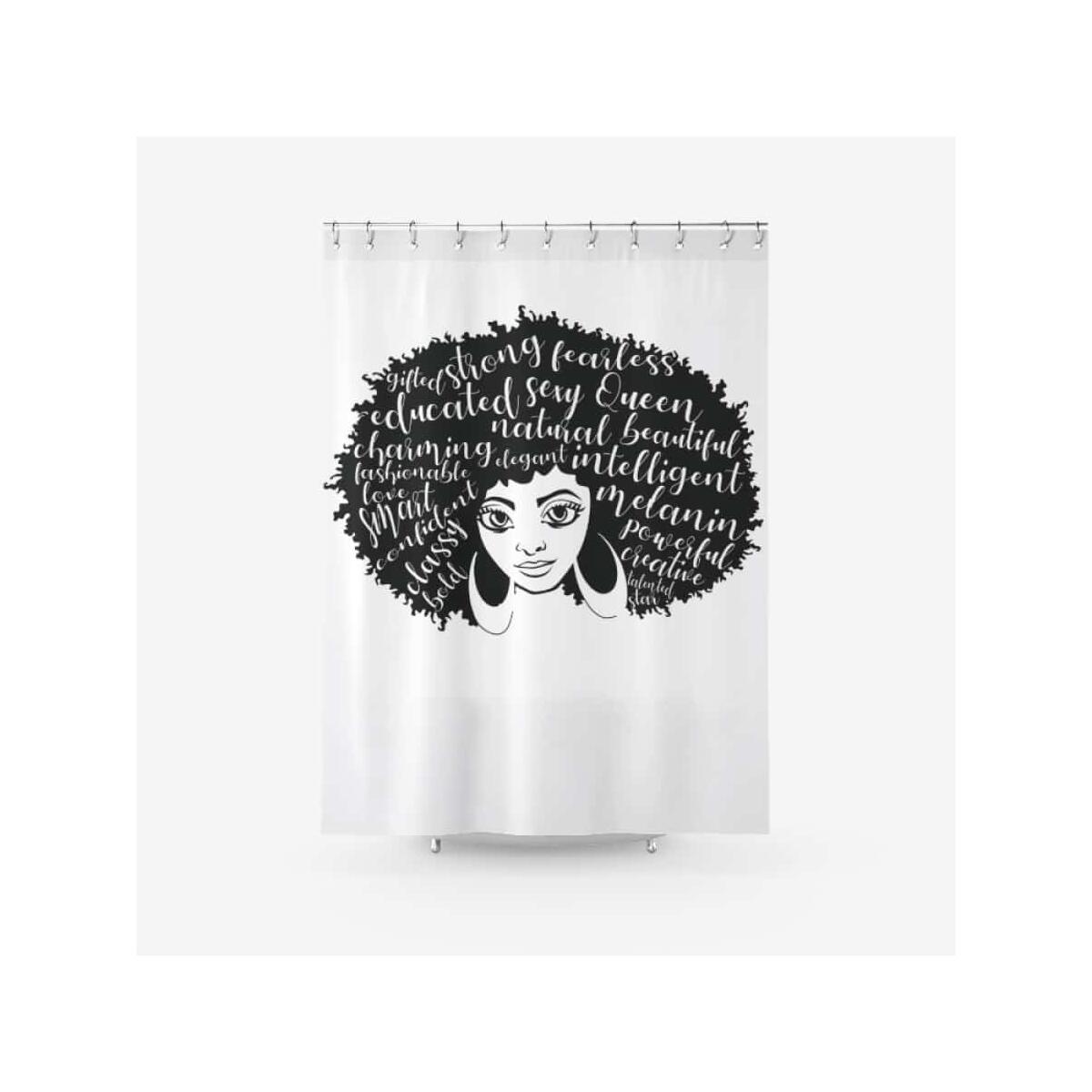 Afro Girl Big Ideas Fabric Shower Curtain Printed Bathroom Curtains