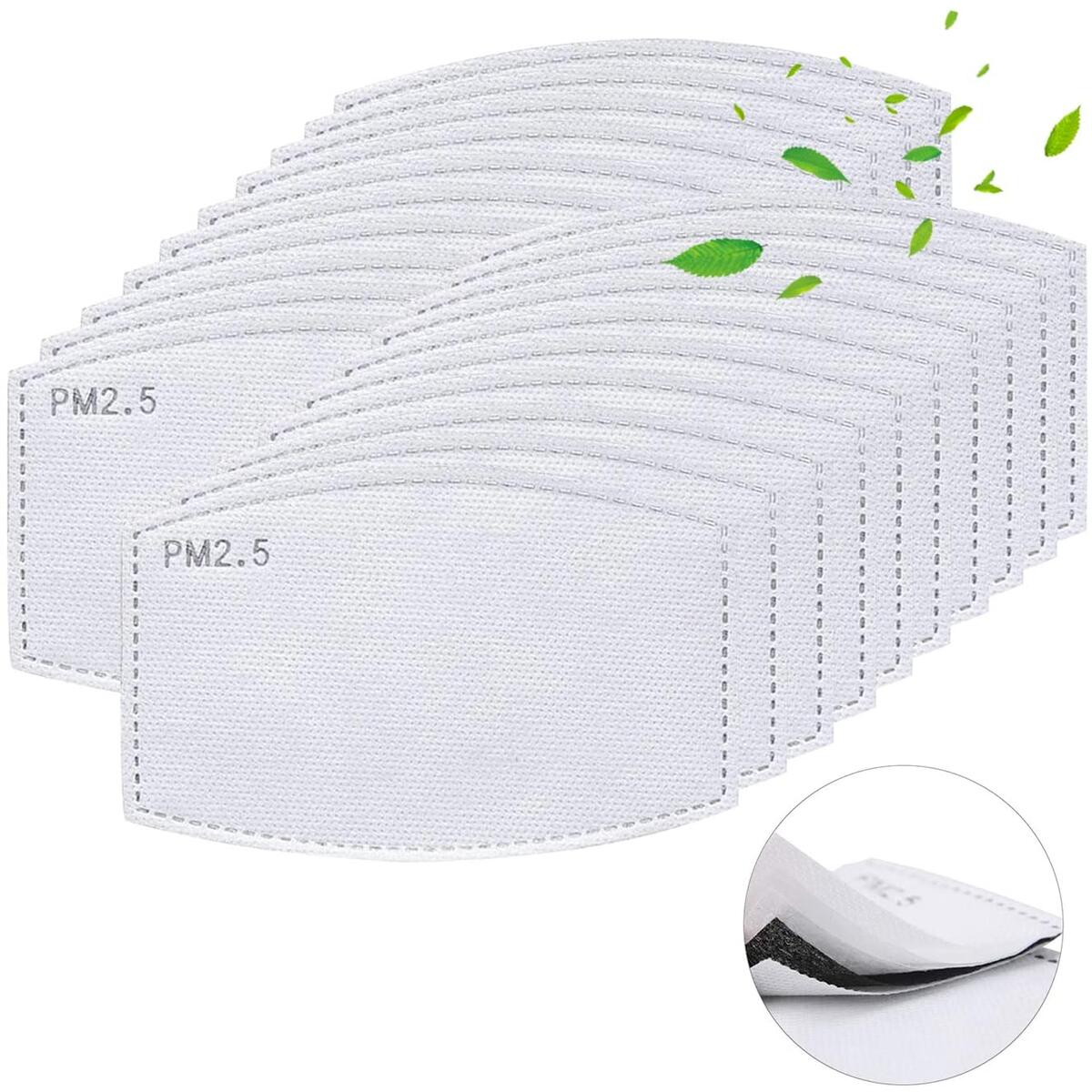PM 2.5 Activated Carbon Filter Insert 5 Layers Protective Replacements Anti Haze Filter Paper (20PCS)