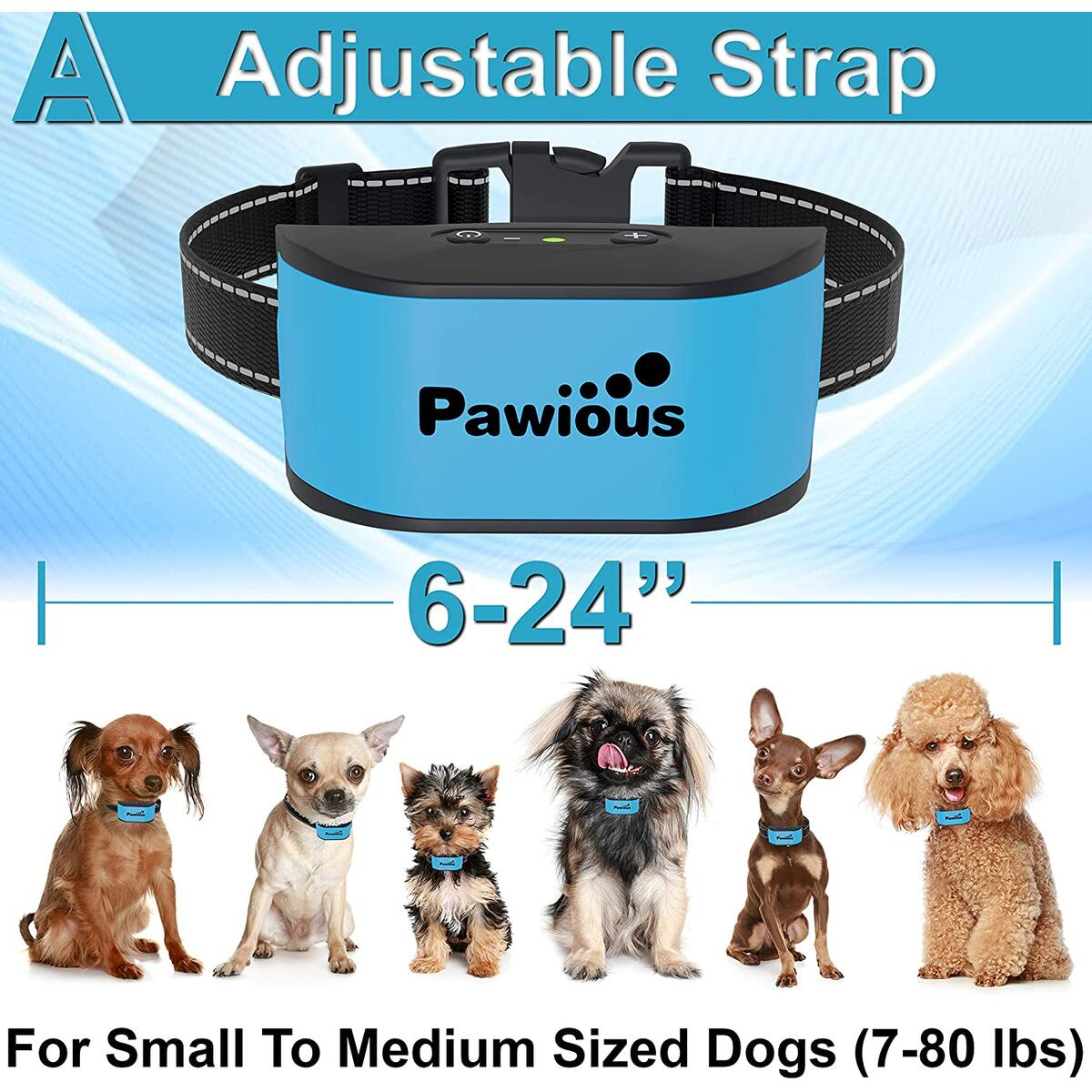 Pawious Bark Collar for Dogs - Humane No Shock, Rechargeable Anti Barking Collar, No Harmful Prongs, Sound and Vibration, 7 Sensitivity Levels - for Small and Medium Dogs
