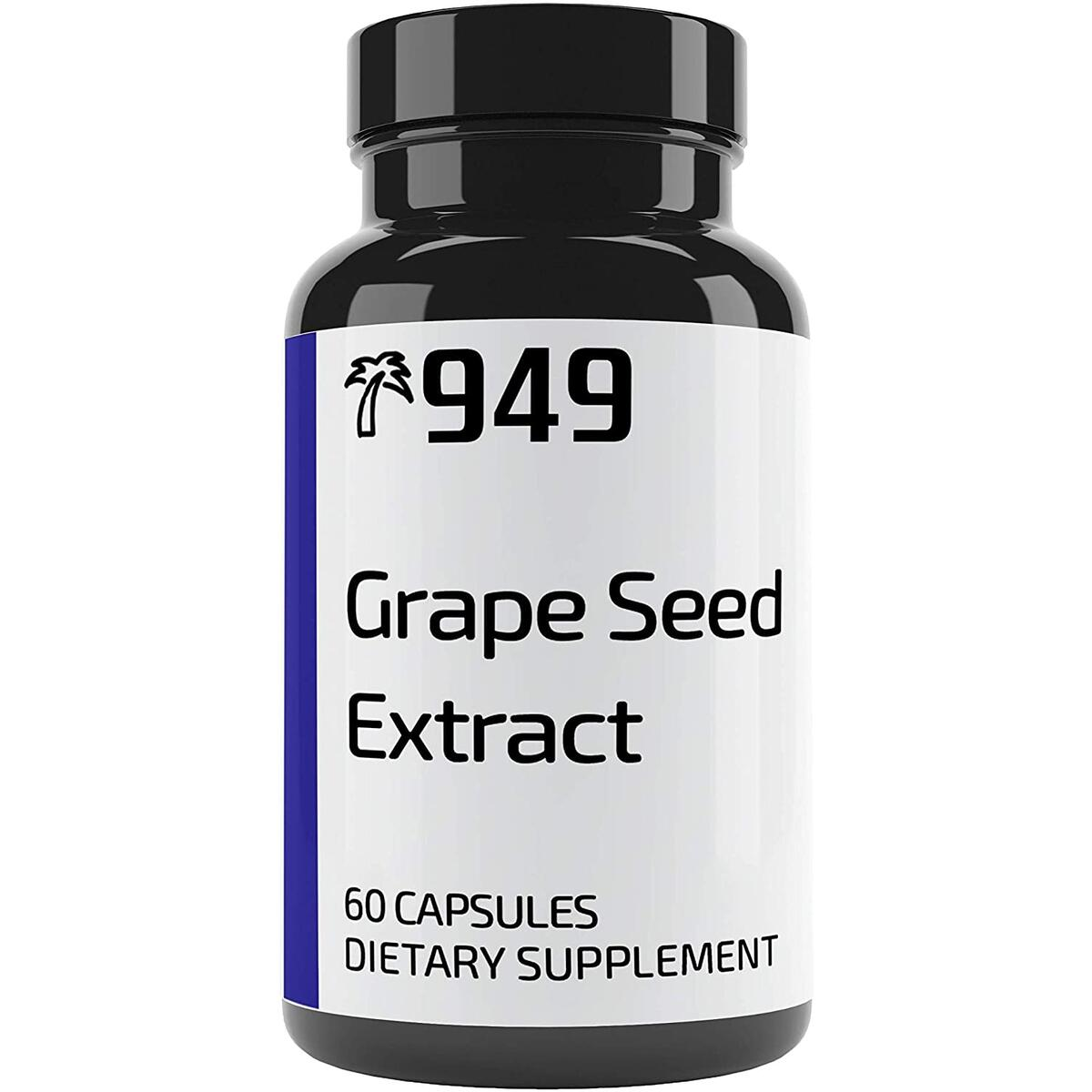 Grape Seed Extract, Under 10 Dollars, 60 Capsules, Natural Anti-Inflammatory, Boosts Immune System, Lab-Tested, No Additives or Fillers, Made in USA, Satisfaction 100% Guaranteed, 949*
