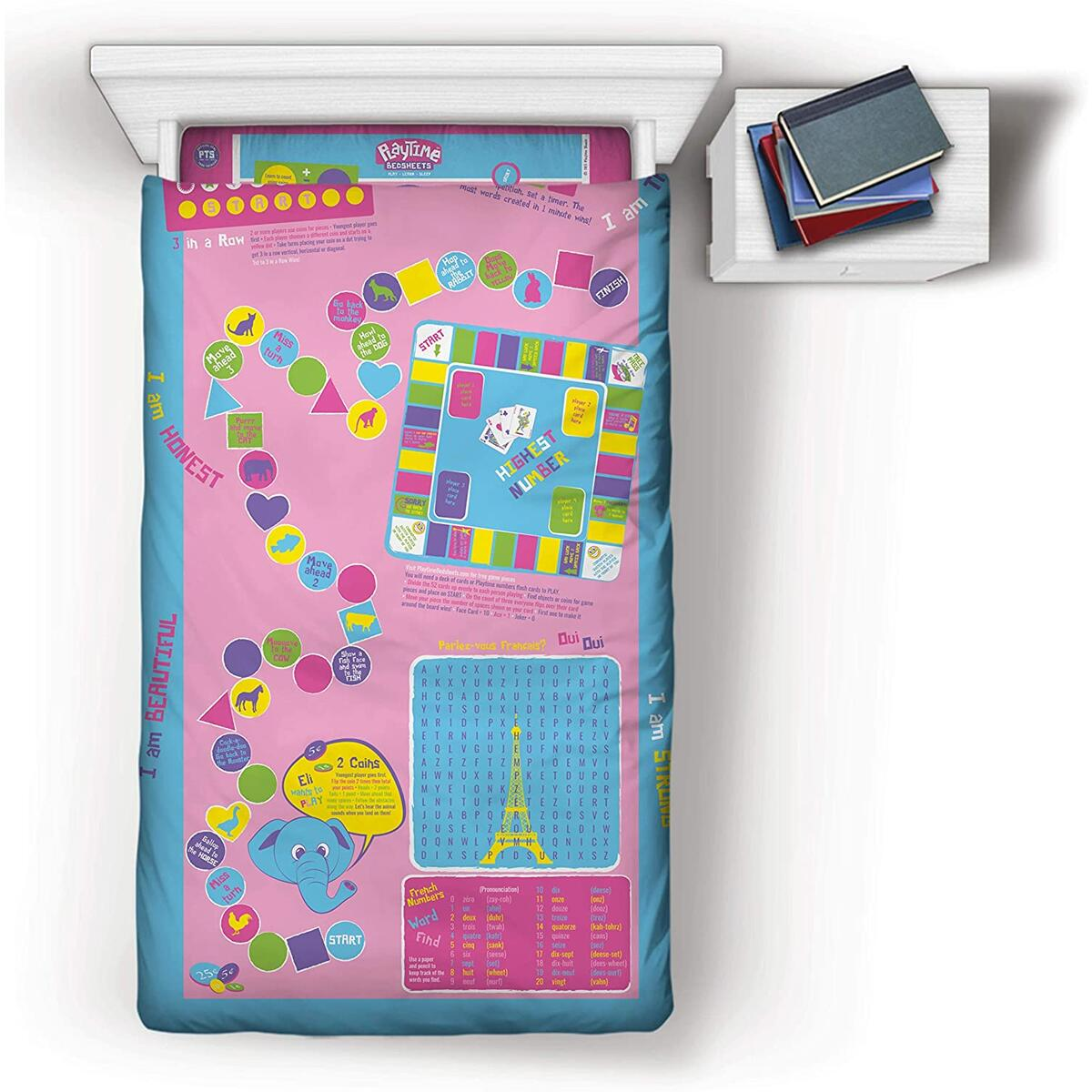 Playtime Bed Sheets Girls Twin Sheet Set! Over 50 Fun and Educational Games & Puzzles. 3 Piece Soft Microfiber Bedding Set.