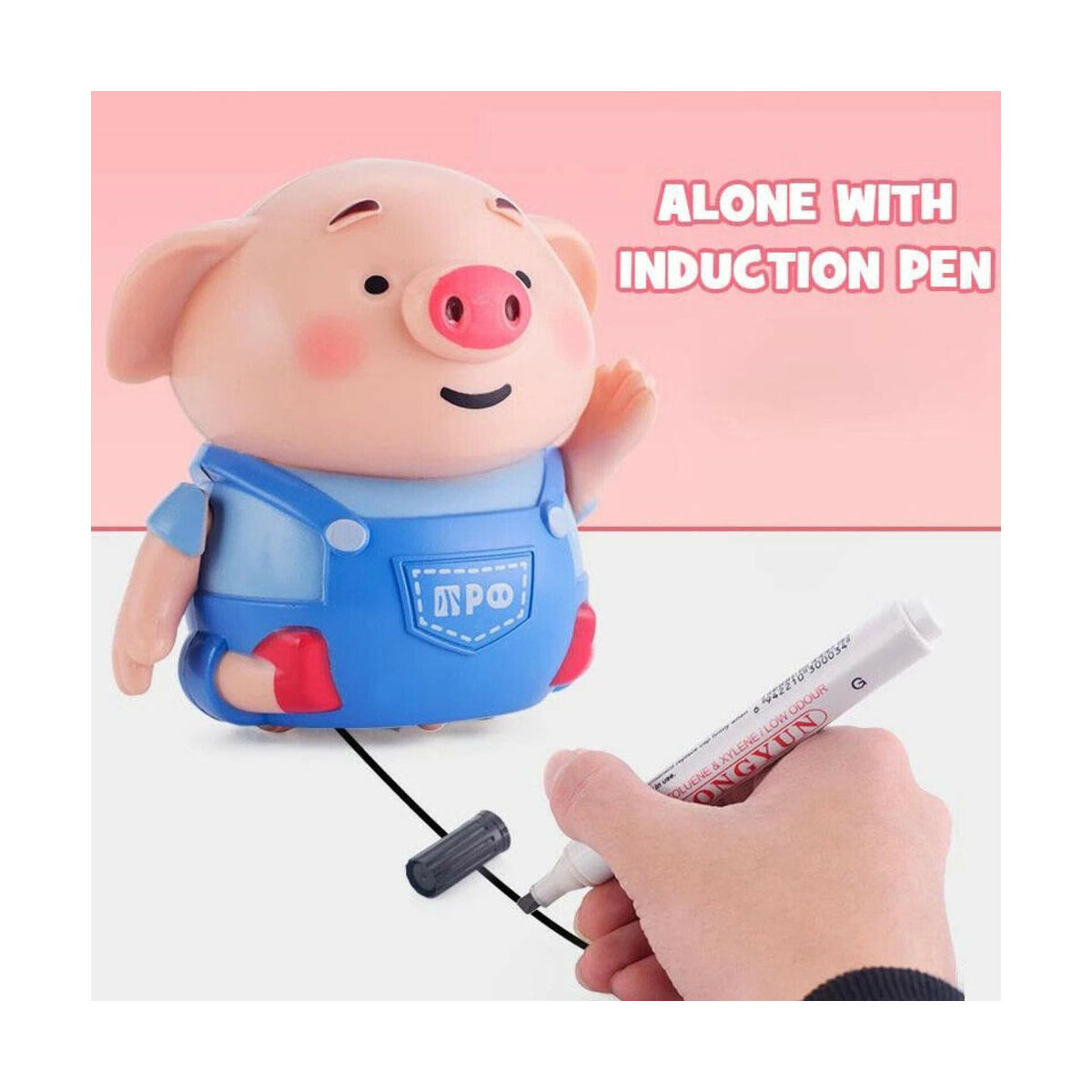Mini Magic Inductive Robot Pig Cute Toy Moving Follows Drawn Line with Magic Pen, Learning and Educational Toys for Kids & Children Gift