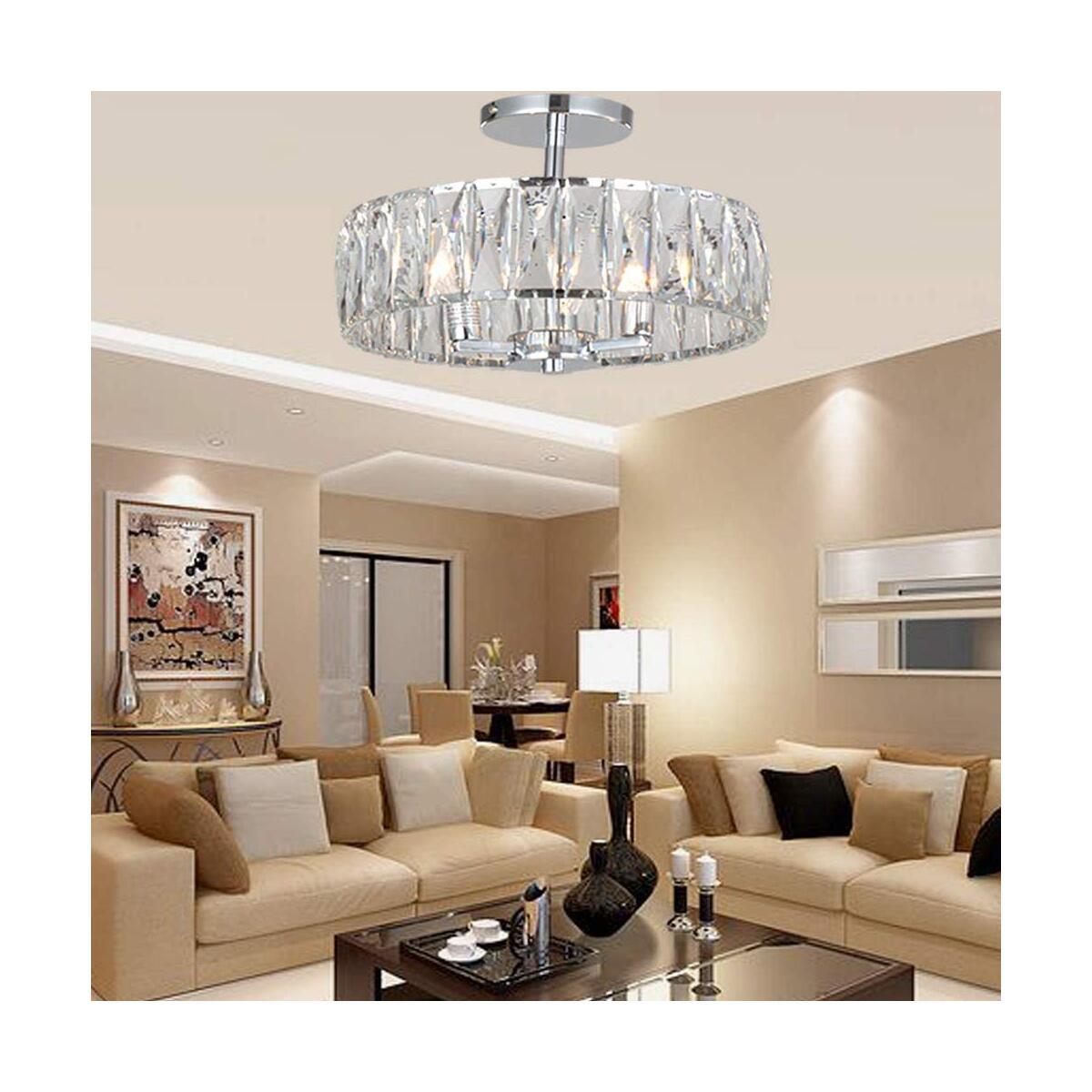 Modern 3-Light Crystal Ceiling Light, 13