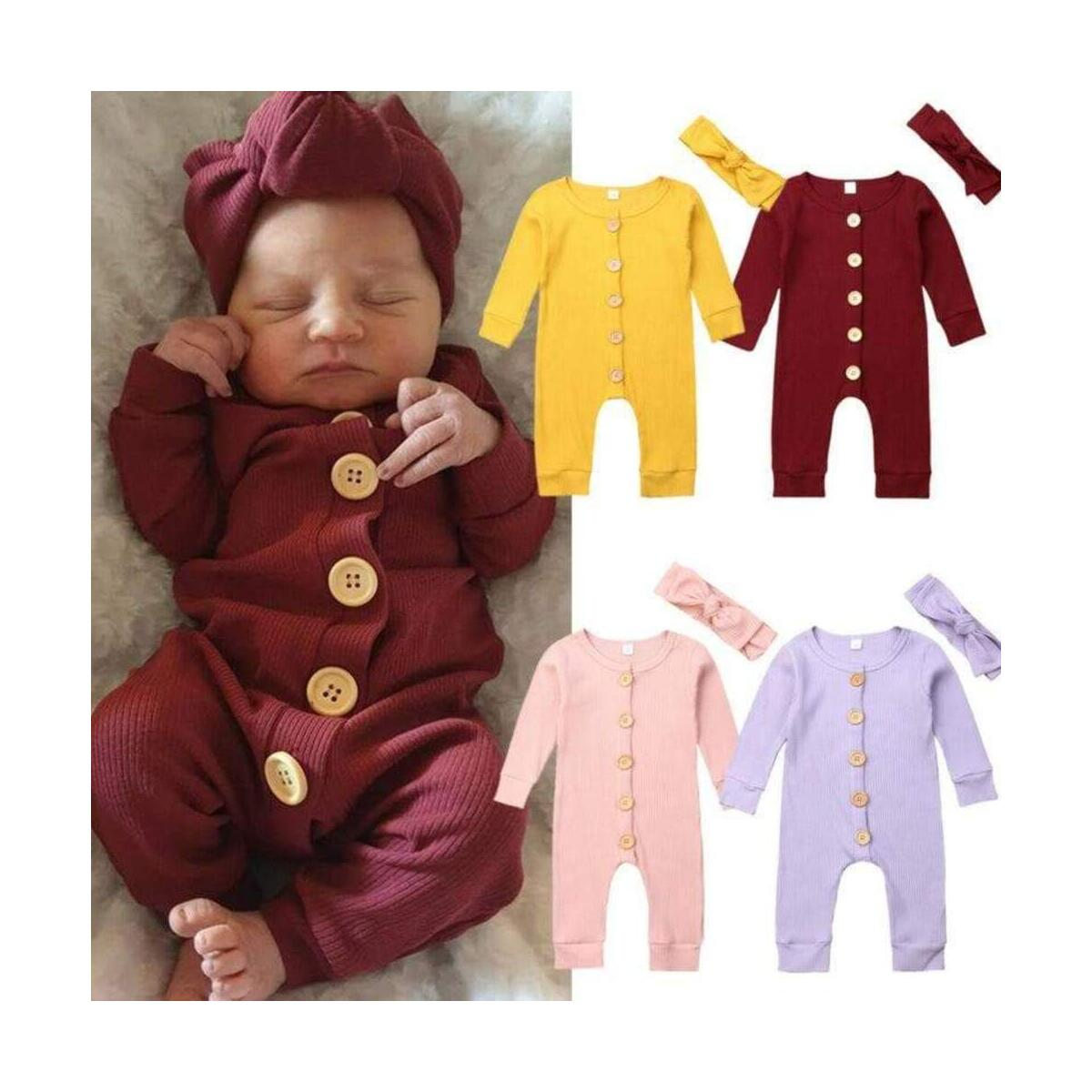 Baby Boy/Girl Solid Knitted Design Long-sleeve Jumpsuit with ribbon