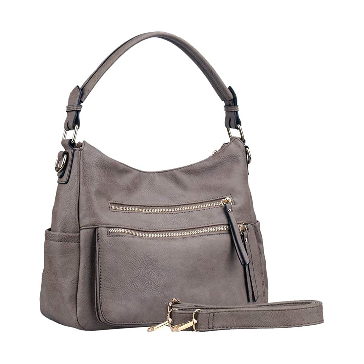 Handbags For Women-UTAKE Hobo Shoulder Purse PU Leather Top Handle Satchel Large Muti-pocket Tote Bags Grey Brown