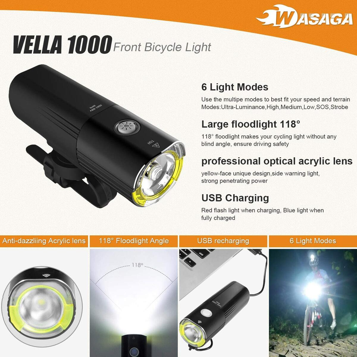 WASAGA Vella 1000 Bike Light Front and Back Bicycle Lights USB Headlight & Tail Lights for Commuters, Road Cyclists & Mountain Bikers