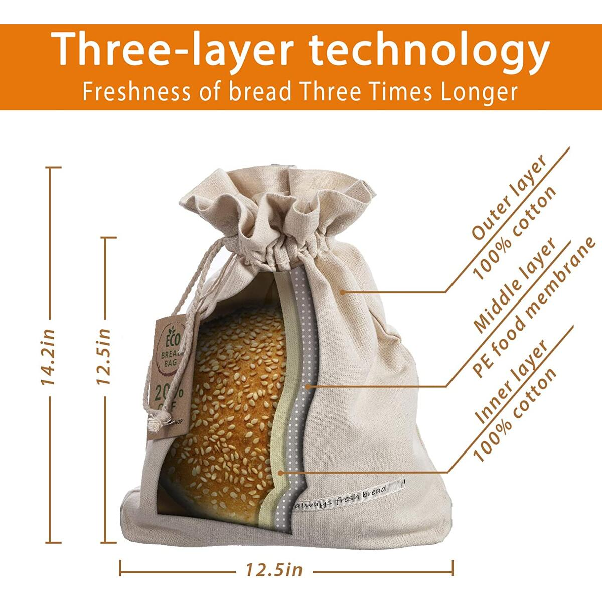 Goodleks Patented Cotton Bread Bag, Reusable Bread Bags for Homemade Bread Loaf, Natural Organic Canvas Bread Storage Bags