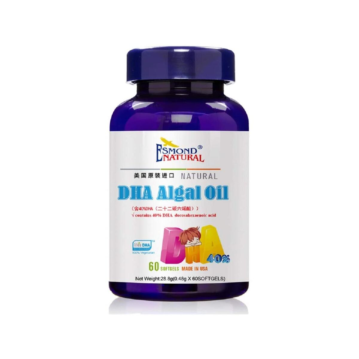(3 Count, 10% Off) Esmond Natural: DHA Algal Oil (40% DHA Docosahexaenoic Acid), GMP, Natural Product Assn Certified, Made in USA-480mg, 180 Softgels