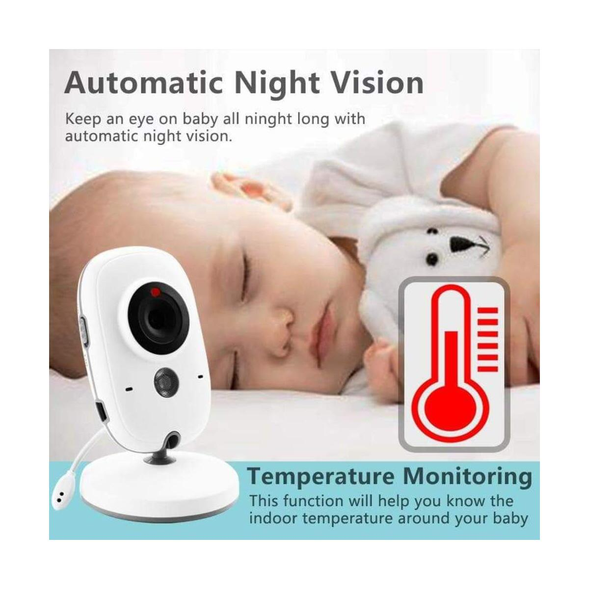 Wireless Baby Monitor with Camera and Audio Infrared Night Vision, Two-Way Talk Back, Screen, Temperature Detection