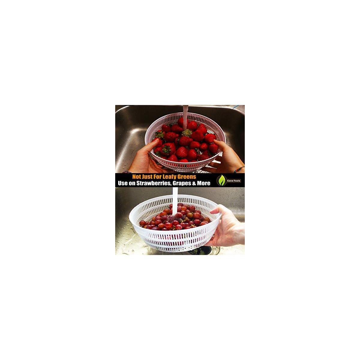 Salad Spinner Large 4.2 Quarts Serving Bowl Set - QUICK DRY DESIGN & DISHWASHER SAFE - BPA Free - No Pump Pull String or Cord Needed, Turn Knob Drys Fruits & Vegetables Fast - Cave Tools