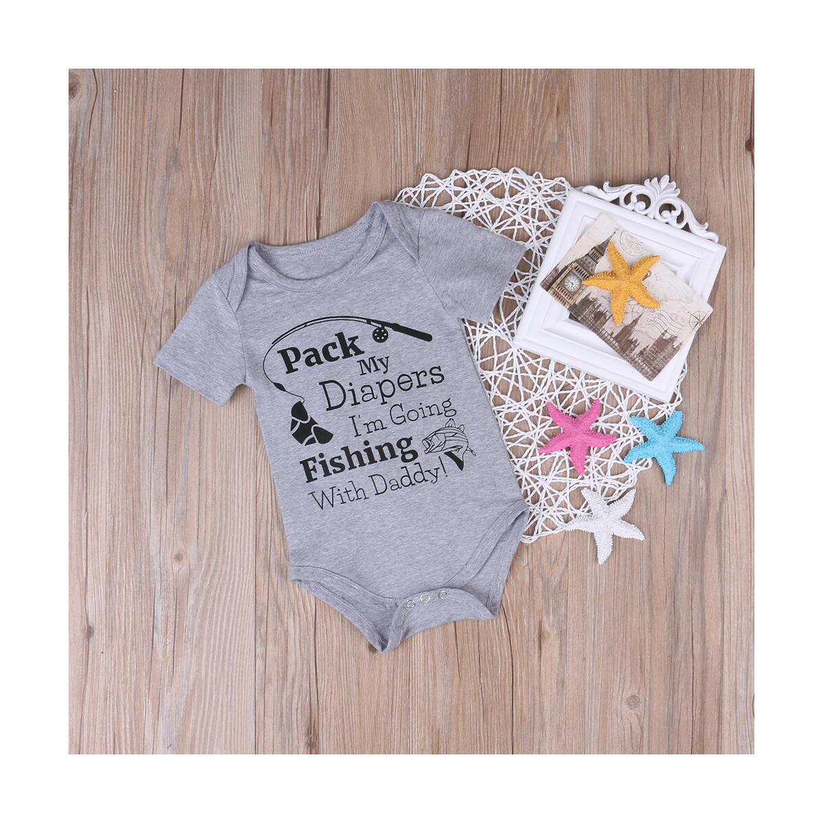 Newborn Infant Baby Boys Girls Short Sleeve Fishing with Daddy Bodysuit Romper Outfits