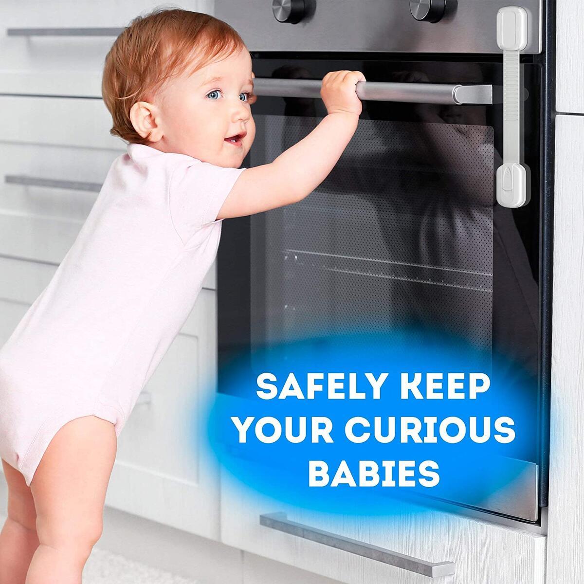 Multipurpose Baby Safety Cabinet Lock Latch Kit - 6 PACK Adjustable Locks + 4 Corner Guards Set - Cupboard Lock Child Safety - Durable Baby Proofing Drawer Locks - Oven Fridge Toilet Seat Kids Proof