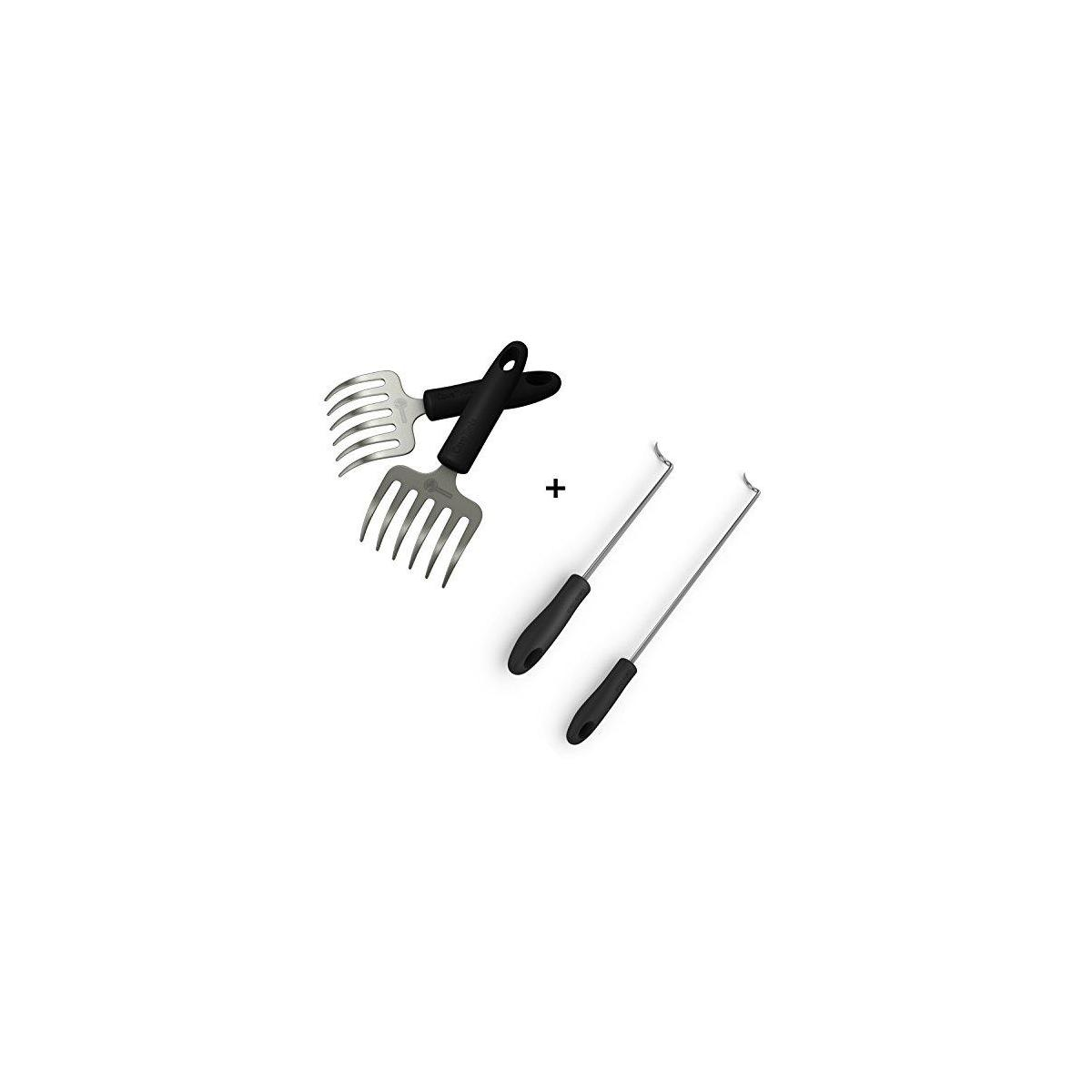 Pulled Pork Shredder Rakes + Pigtail Food Flipper Hooks - Large & Small Barbecue & Cooking Turners For Turning Bacon Steak Meat Vegetables Sausage Fish - Replaces Grill Spatula Tongs & BBQ Fork