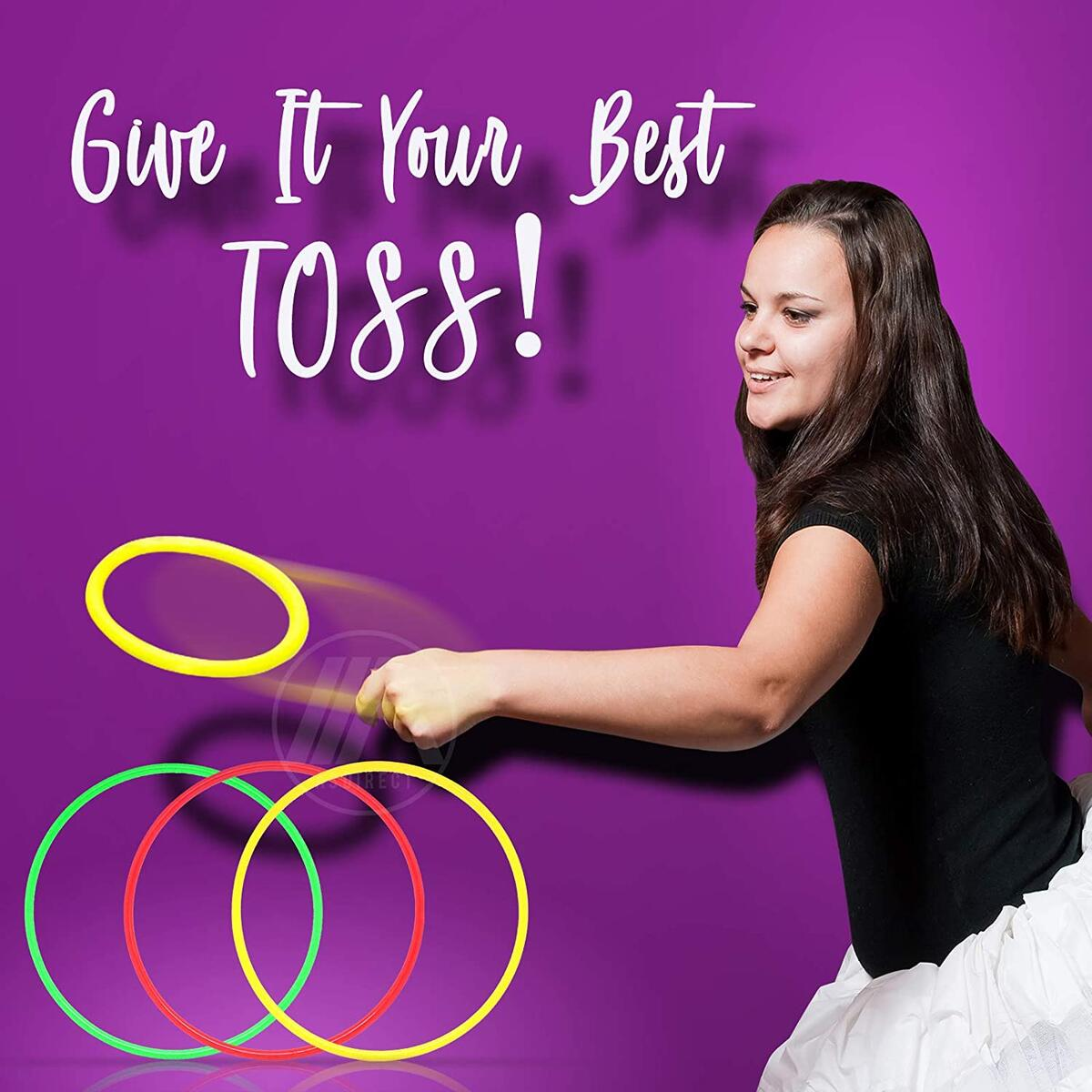 "Inflatable Banana Ring Toss Bachelorette Party Games - Bridal Shower Game, Decorations and Supplies for Engagement Parties, Girls Night Out & Bride to Be Favors - 26"" Banana with 3 Rings for Tossing"