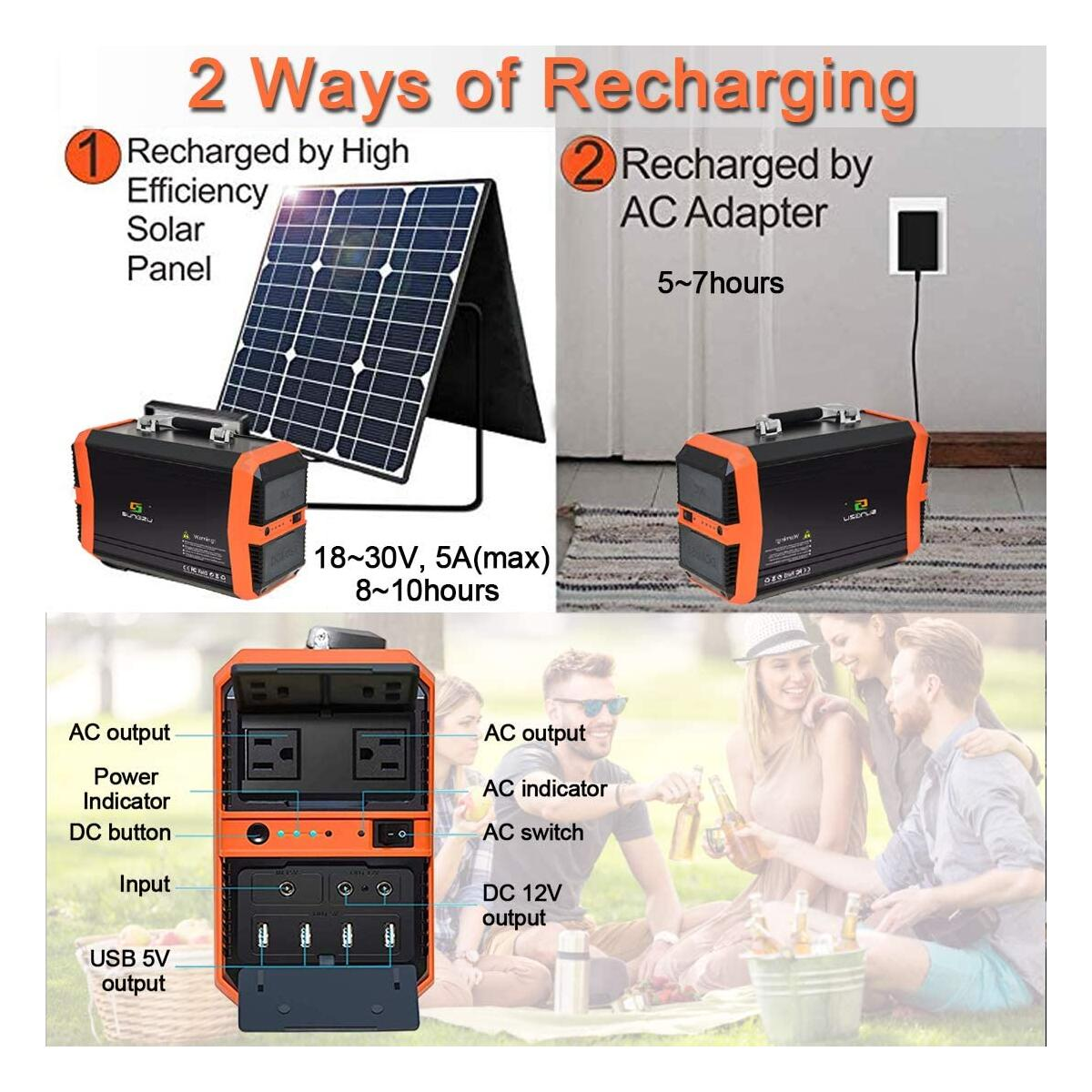 SUNGZU Portable Generator Power Station 300W Solar Generator CPAP Battery Backup for Camping Outdoor Home Emergency 300 watt 346Wh 11.1V/31.2Ah Quiet Rechargeable Power Supply with 2AC 2DC 4USB