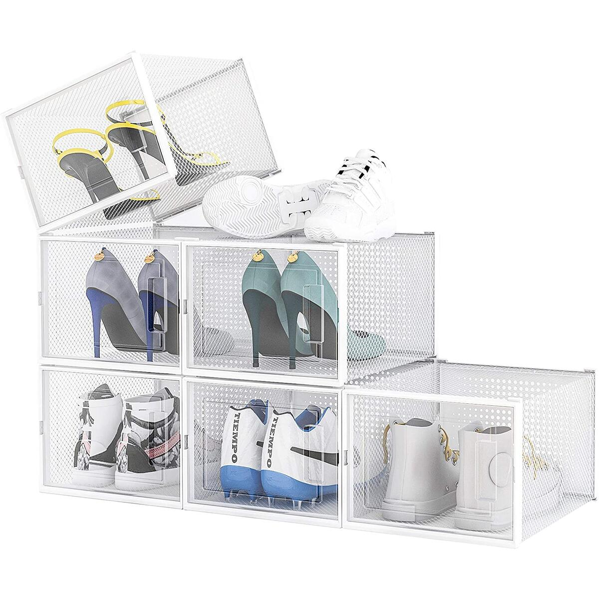 XL Stackable Shoe Box - Ventilated, Transparent Shoe Organizer - 6 Pack Collapsible, X-Large Sneaker Storage - 37% OFF including 10% Coupon