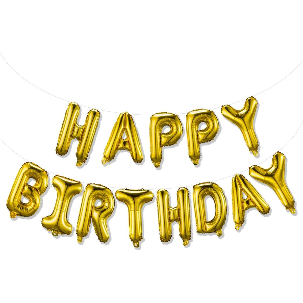 Happy Birthday Balloons Banner & Mylar Foil Letters Inflatable (3D Gold Lettering) Birthday Party Decorations for Girls and Boy Reusable (Gold)