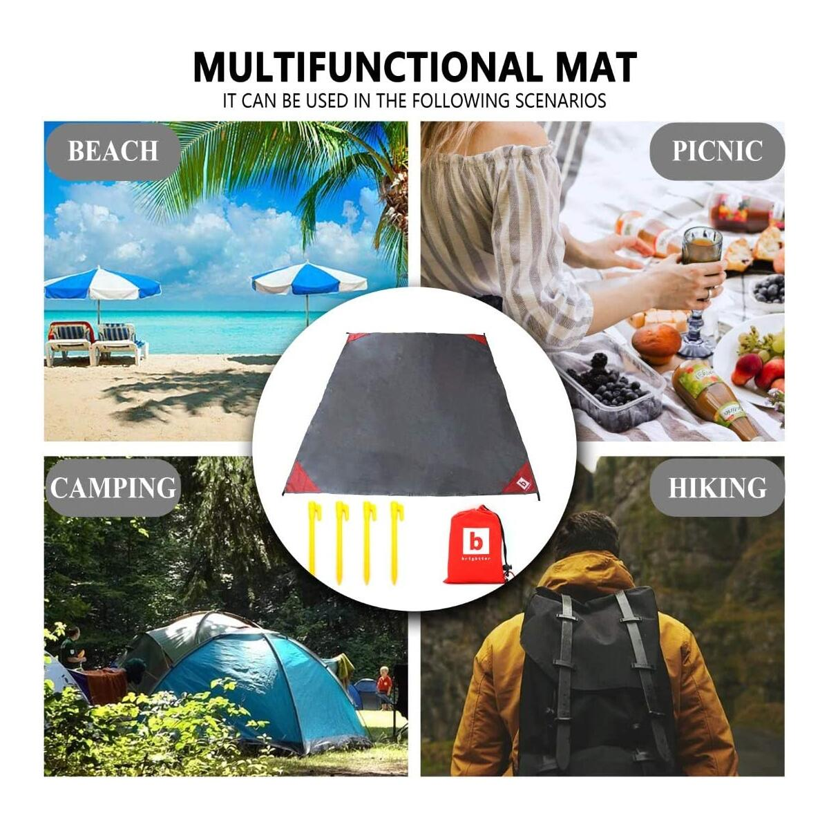 brightter Multi-Purpose, All-Climate Blanket - Waterproof, SandProof, SpillProof - for Picnics, Camping, Beach, Hiking - (LG) Portable, Durable & Lightweight, with Extras.