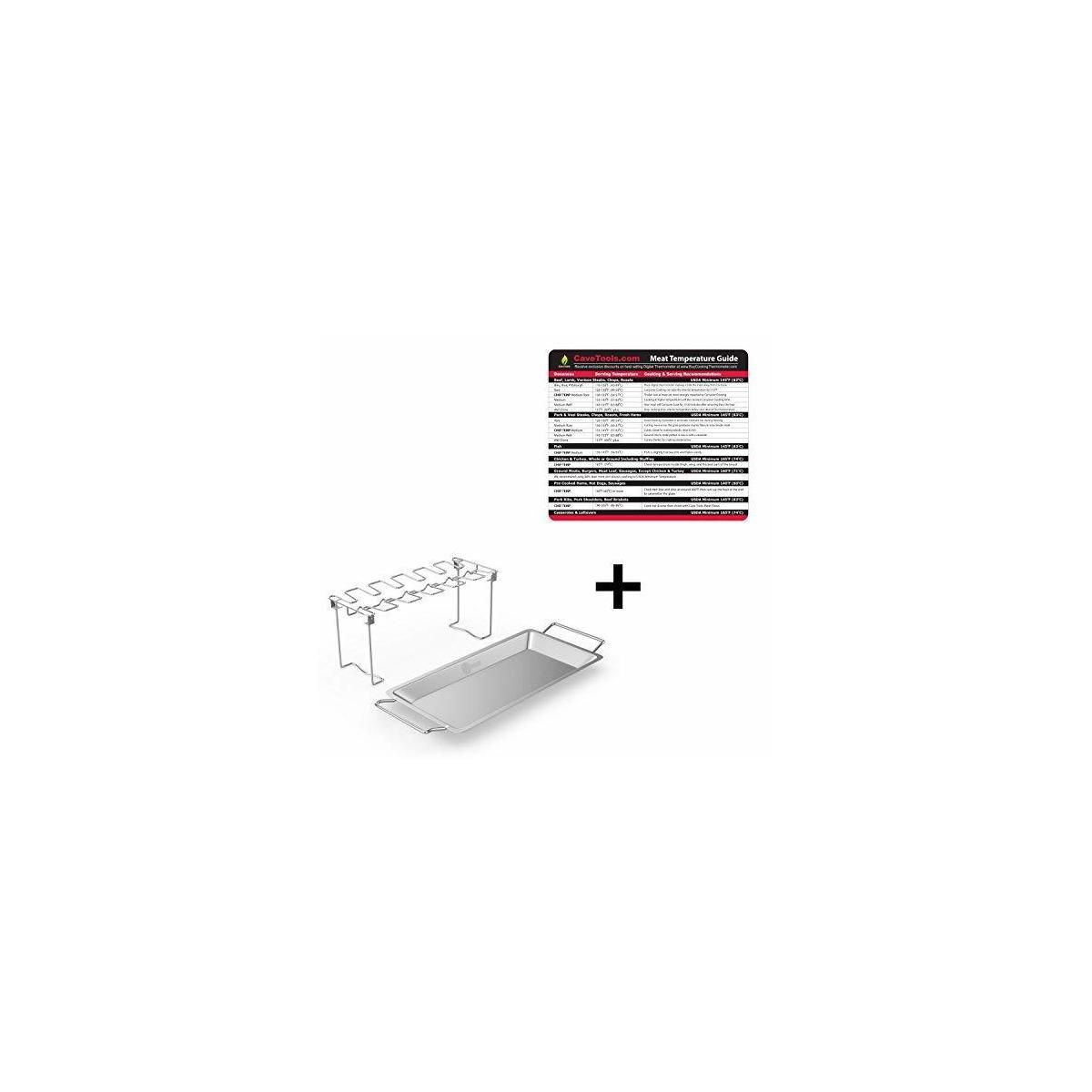 Temperature Magnet (lg) + Chicken Wing & Leg Rack For Grill Smoker or Oven - Stainless Steel Vertical Roaster & Drip Pan For Cooking Vegetables In BBQ Juices - Dishwasher Safe Barbecue Accessories