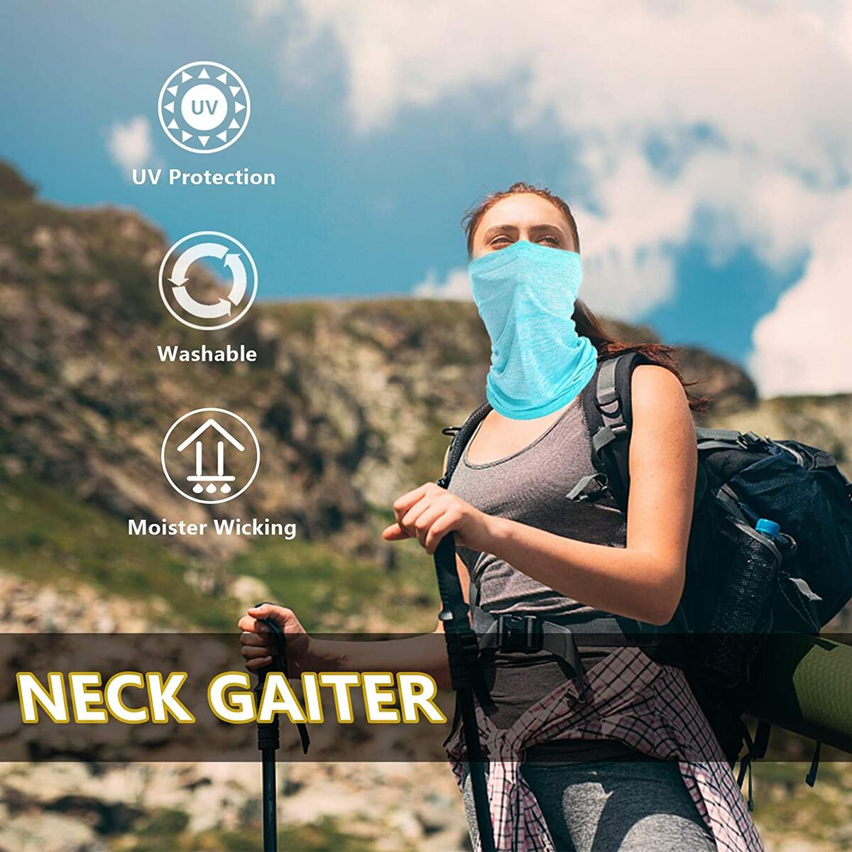 Mepakl Neck Gaiter Face Scarf Mask - Sun Protection Cooling Breathable Face Cover Bandana for Fishing Running Motorcycling