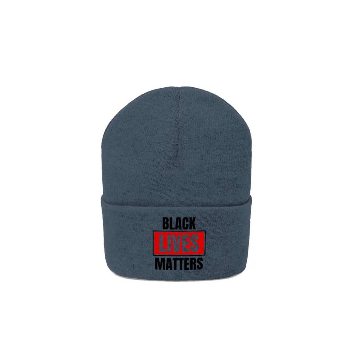 Afrocentric Black Lives Matter Knit Beanie, Graphite Heather / One size