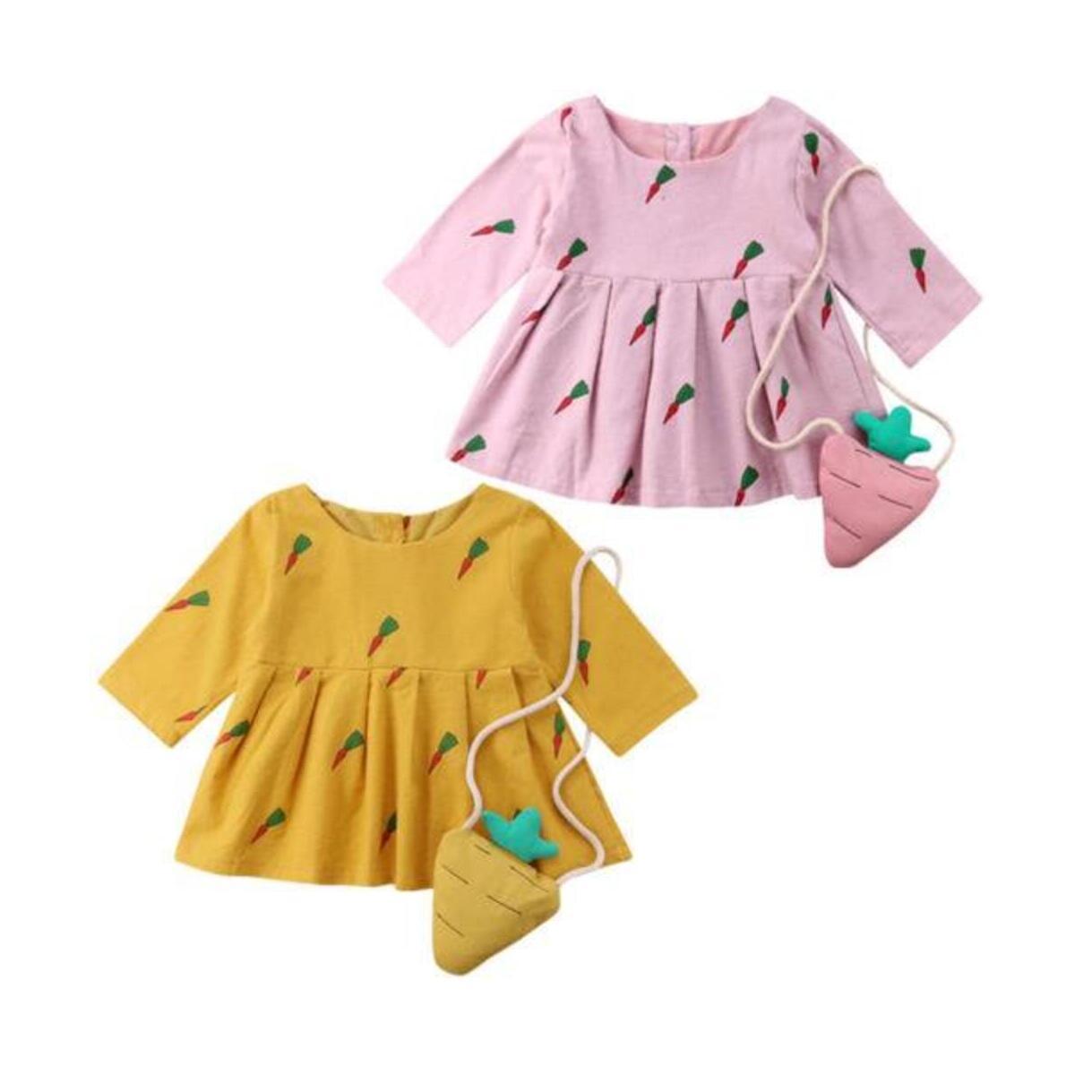 Cute Carrot Print Long Sleeve Princess Dress Small Bag Toddler Baby Girl