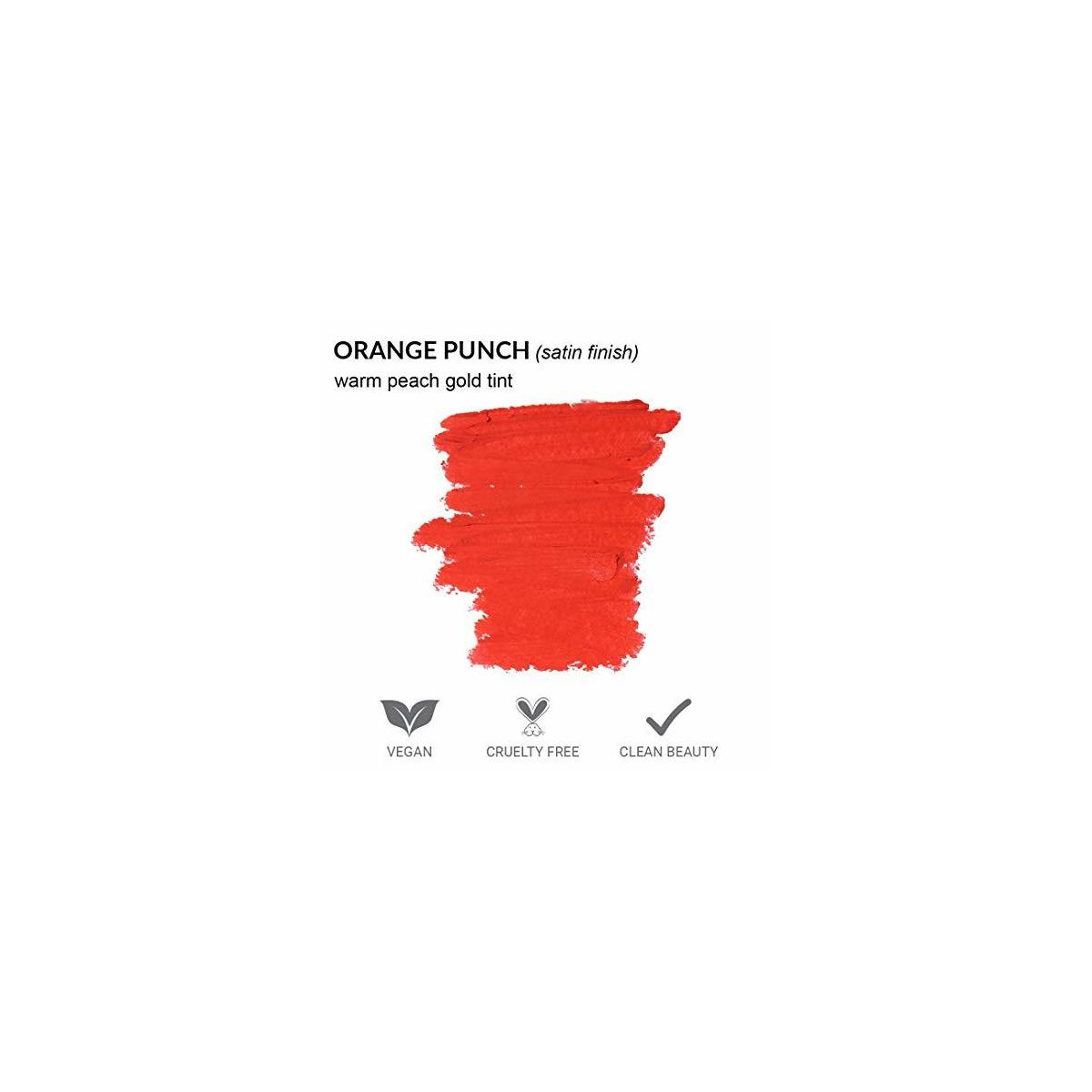 Super Moisture Lipstick by True + Luscious - Clean Formula, Smooth and Hydrating - Vegan and Cruelty Free Lipstick, Non Toxic and Lead Free Shade: Orange Punch - 0.12 oz