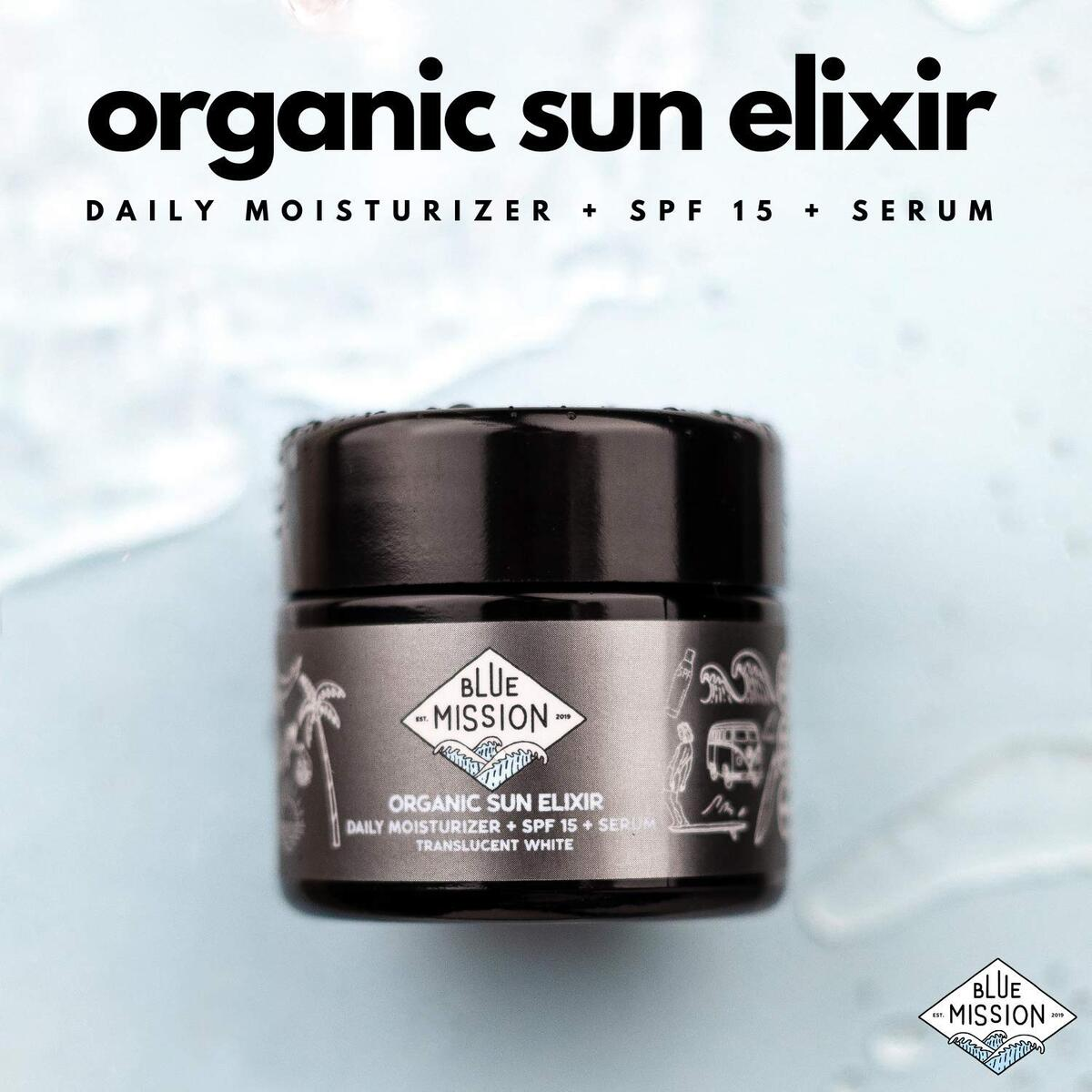 Blue Mission Vegan Daily Face Sunscreen - Our Organic Daily Moisturizer + SPF 15 + Serum Is Vegan, Reef-Safe & Glass Jar. Absolutely ALL GOOD for your skin and the planet!
