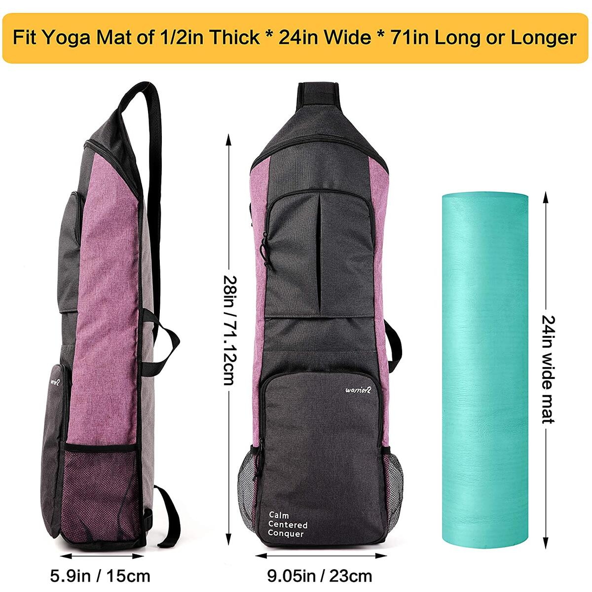 Warrior2 Yoga Mat Holder Carrier, Yoga Backpack Fits 1/2 Inch Thick Mat, Large Pockets & Water Bottle Holders | Full Zip Yoga Mat Carrying Bag for Women Men Yoga Gym Workout