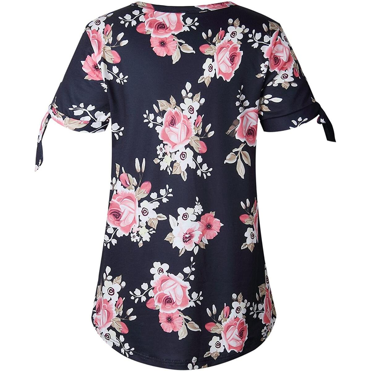 Alelly Women's Summer Casual O-Neck Tie Sleeve T Shirts Floral Print Loose Tee Tops
