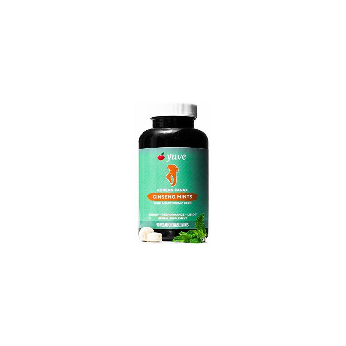 Yuve Korean Red Panax Ginseng Mints 1000mg - Performance, Mental Health & Energy Booster - High Ginsenosides Extra Strength Root Extract Powder - Natural Supplement, Non-GMO - 90 Vegan Chewable