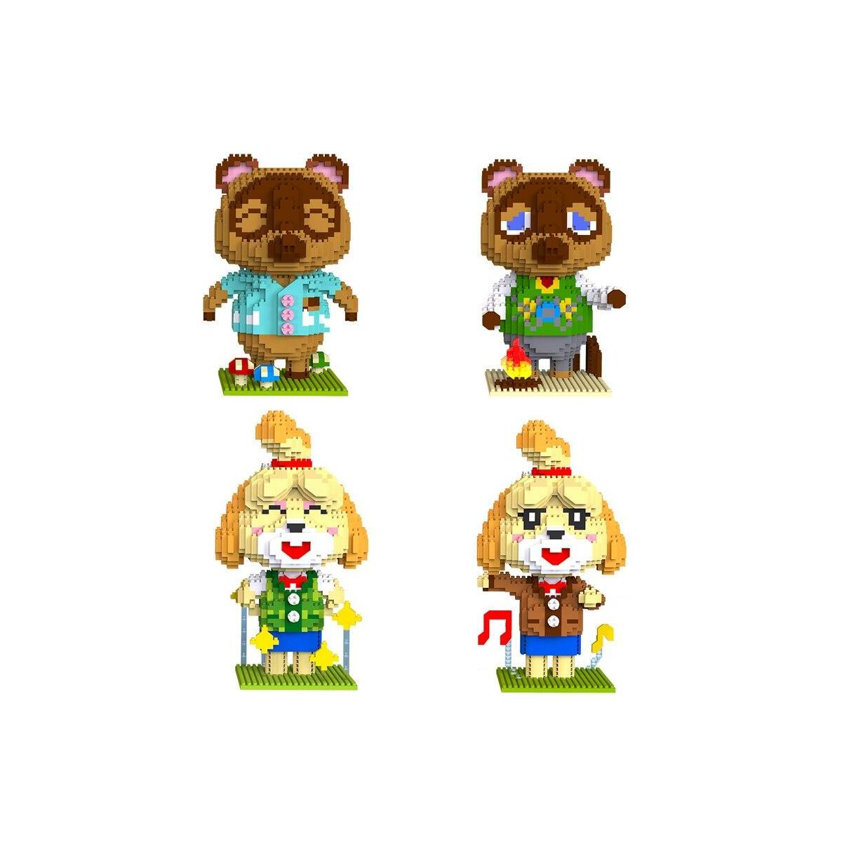 Animal Crossing Tom Nook and Isabelle Lego Style Building Block Set 1224pcs+, 6004-3 / 8in