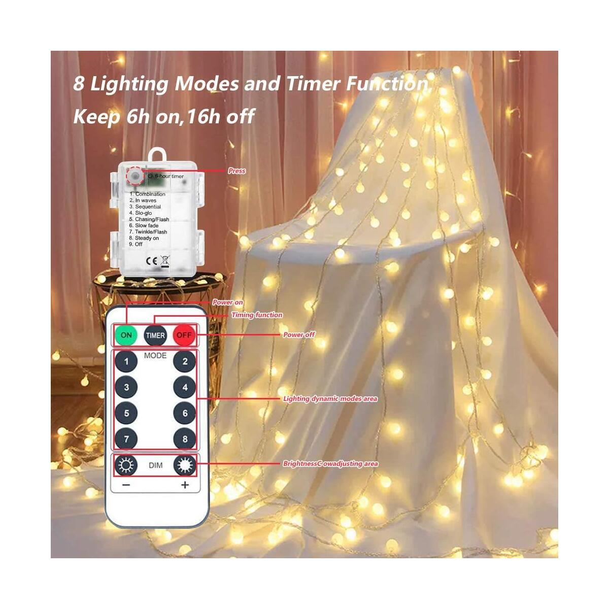 Battery Operated String Lights, Correare 2 Pack 50 LED 19.6Ft Globe Outdoor String Lights with 8 Lighting Modes and Remote for Bedroom, Patio, Party, Wedding, Christmas Holiday Decoration Lights