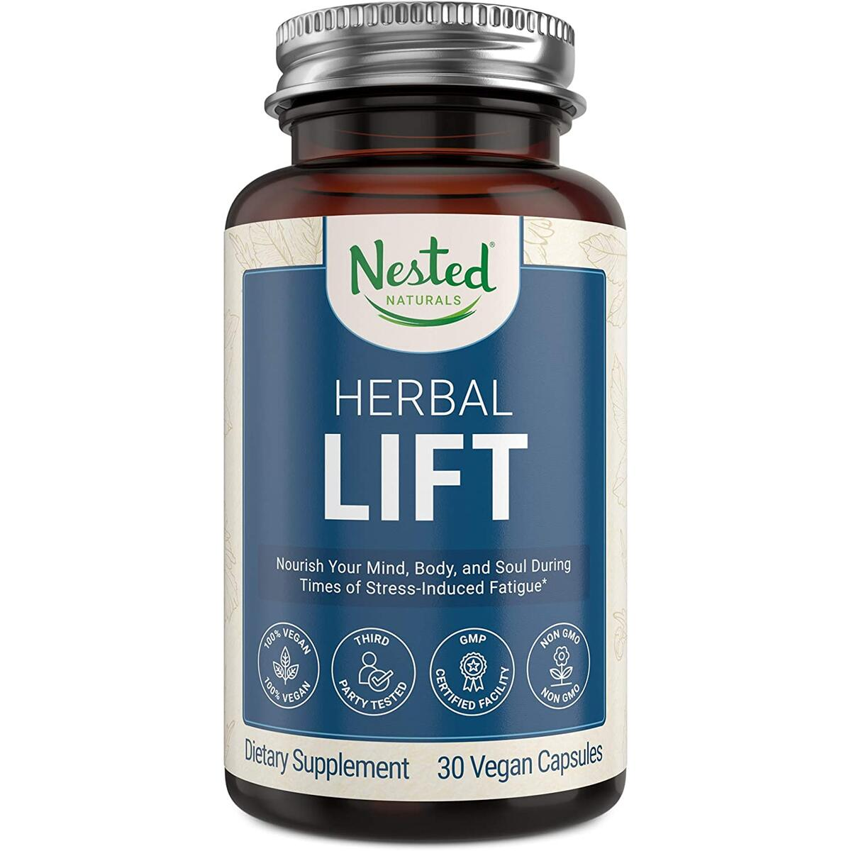 Nested Naturals Herbal Lift | Organic Beet Root Powder and Oatstraw | Calming and Positive Mood