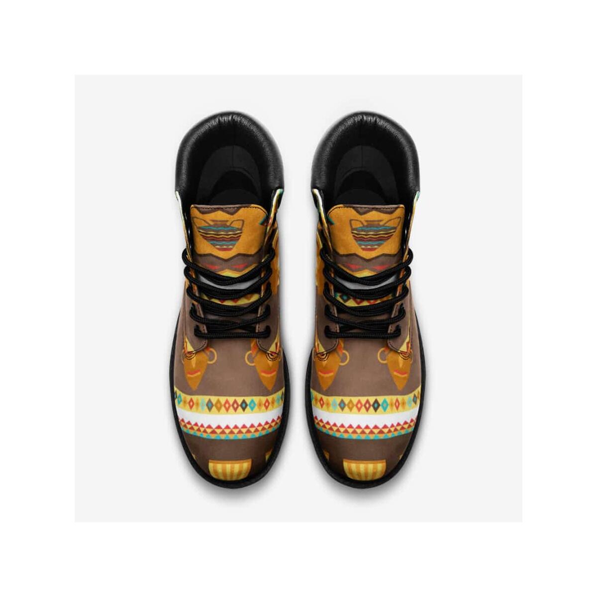 African Djembe Masks Leather Lightweight boots TB, 8.5 Women / 7 Men / Black
