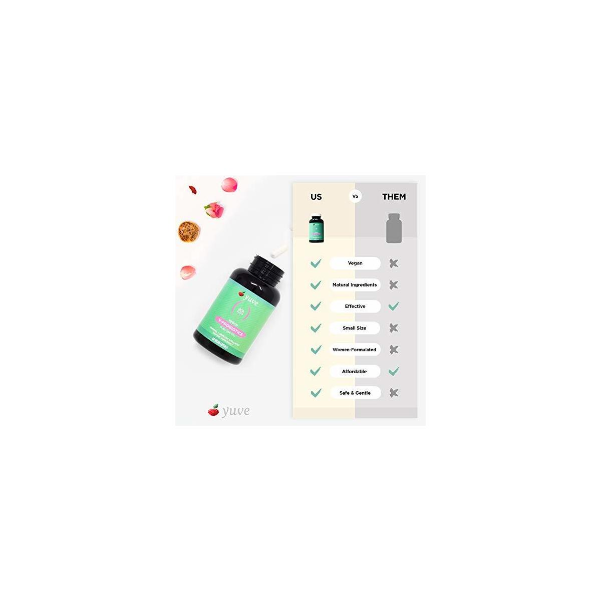 Yuve Vegan Probiotics Supplement for Women - Shelf Stable 15 Billion CFU - Supports Healthy Flora, Feminine Urinary Tract Wellness, Immune & Digestive Health - Non-GMO, Gelatin & Gluten Free - 60 ct