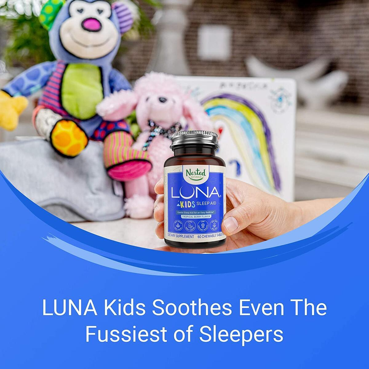 Nested Naturals Luna Kids | #1 Sleep Aid Tablets for Children & Sensitive Adults | Gentle Herbal Supplement with Chamomile, Melatonin, Valerian & Lemon Balm