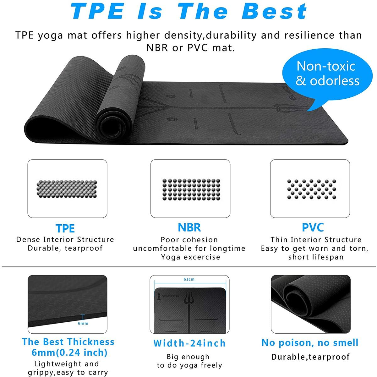 Eco Friendly TPE Yoga Mat with Alignment System, Carrying Strap, Extra Thick 1/4