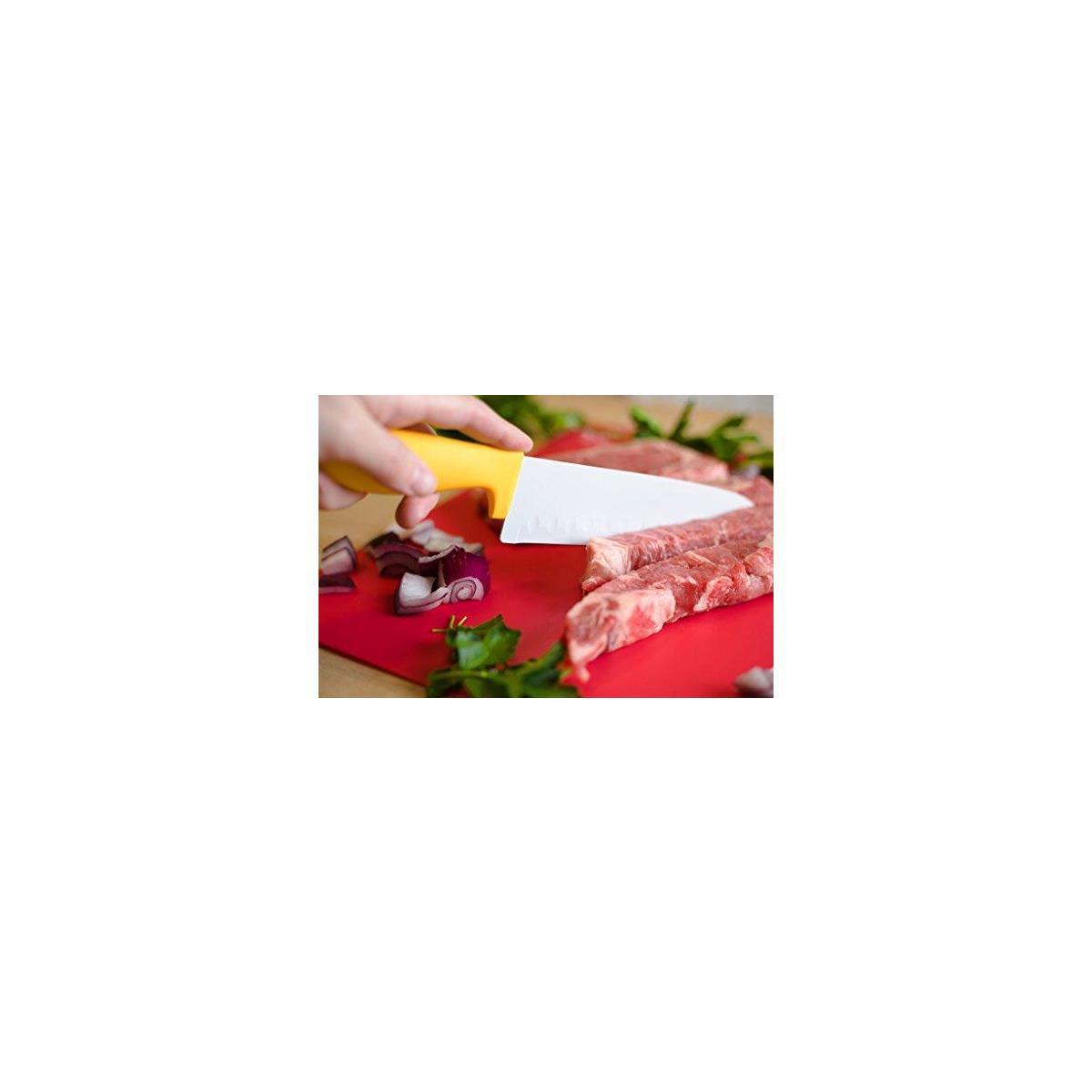 12 Piece Steel Color Knife Set - 6 Steel Dishwasher Safe Kitchen Knives with 6 Knife Sheath Covers - Chef Knife Sets with Bread, Slicer, Santoku, Utility and Paring Knives - Colored Knife Set