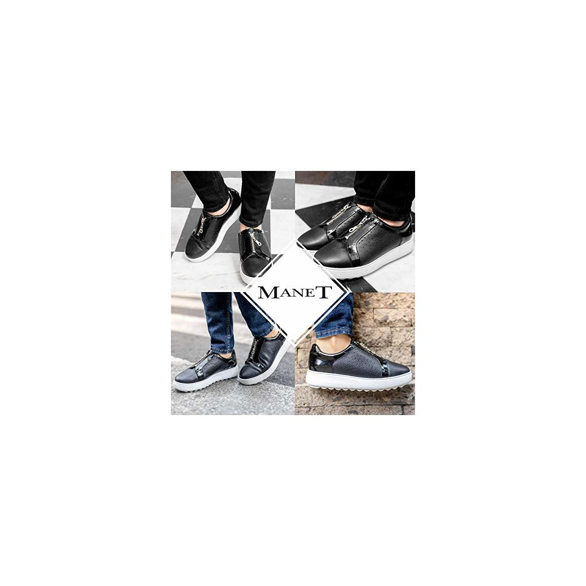 MANET Slip On Leather Sneakers for Women - Womens Fashion Zip Up Perforated Casual Comfort Walking Shoes - Crisantemo
