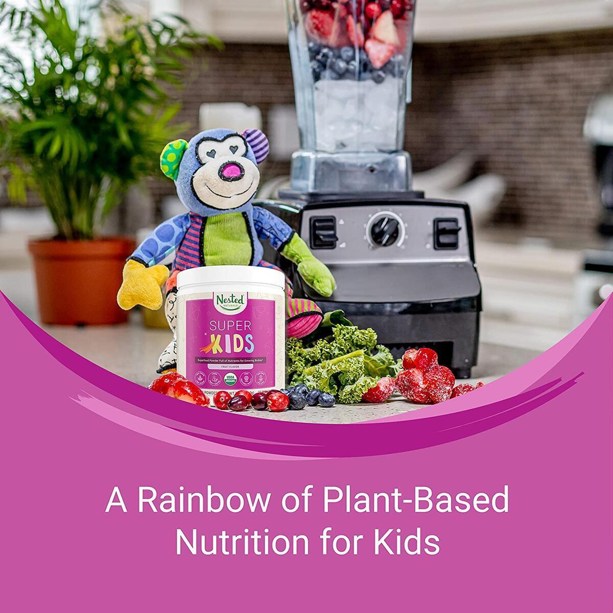 Nested Naturals Super Kids | 100% USDA Organic Vegan Superfood Powder for Kids | Natural Fruit Flavor 0g Sugar
